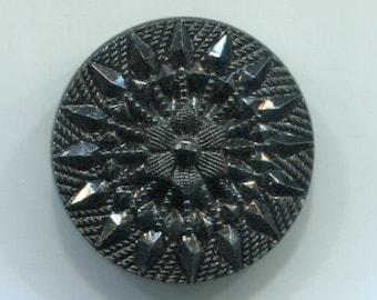 "Pretty Molded Black Glass Button 1 & 1/16"" across"