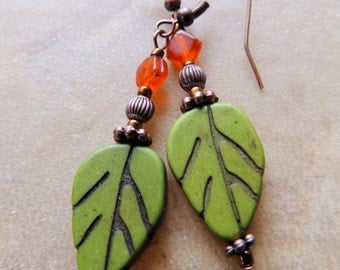 Woodland Leaf Carved Sage Green Magnesite Carnelian CopperFall Glow in the Dark Dangle Earring