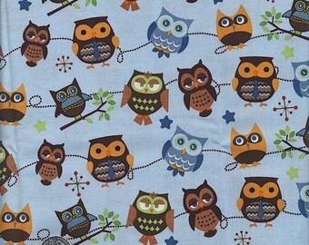 SALE ...2 Yards Hooty Hoot Returns Roll Call : c3441 Sky Blue Owls Riley Blake Design Cotton Quilt Novelty Fabric