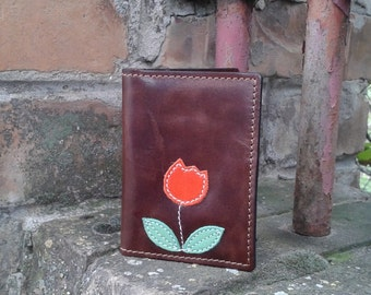 Credit Card Wallet For 4 Credit Cards With Cute Orange Tulip