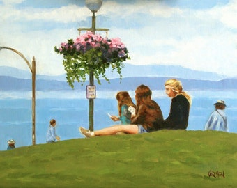 A Rest in the Park, 11x14 Original Oil Painting on Linen, Scene in Seattle with Figures