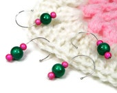 Crochet Stitch Markers Set, Removable, Snag Free, Beaded, DIY Crafts, Gift, Bright Green, Pink, TJBdesigns