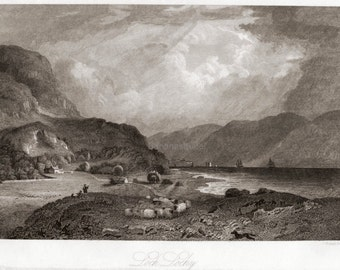 Antique Engraving of Loch Lochy, Scottish Highlands. Published in 1860
