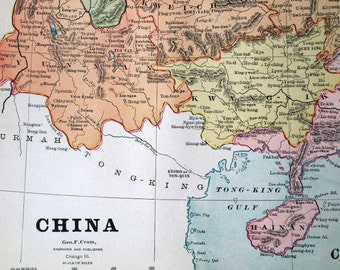 1883 Antique Map of China - Antique China Map - China Antique Map