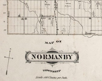1880 Large Vintage Map of Normanby Township, Grey County, Ontario