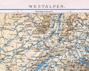 1895 Vintage Map of the Western Alps (France, Switzerland, Italy)