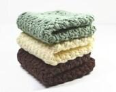 Crochet Wash Cloths...Cotton Dish Cloth Set..Light Green, Cream, Brown..Face Cloths