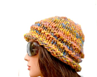 Autumn Knit Hat, Winter Cloche, Hand Spun, Hand Dyed Cap, OOAK