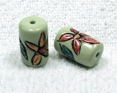 NOW ON SALE Handmade Polymer Clay Tube Beads - Scribed Flowers and Leaves