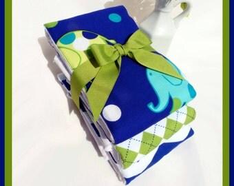 Baby Boy Gift Set, Newborn Boy Burp Cloths in Chevron, Green Argyle and Elephant Print on Premium Cloth Diaper Burps, Custom Gift Card