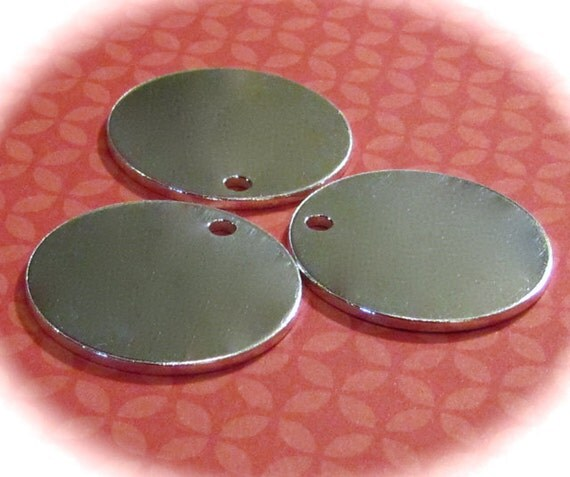 "10 Discs 1.25"" 14 Gauge Discs Polished with a 3mm Hole 14 Gauge Heavy Weight Pure Food Safe Metal - 10 Discs"