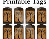 Primitive Tags Printable 8 Per Sheet , Digital Willow Tree Grungy