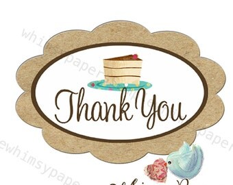 "Piece of Cake Scalloped Oval ""Thank You"" Stickers - set of 50"