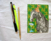 party horse postcard set of two in emerald and olive green
