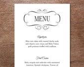 Black and White Vintage Frame Wedding Menu Template - Wedding Menu - Instant Download - Printable Menu Template - Menu Template - Menu Card