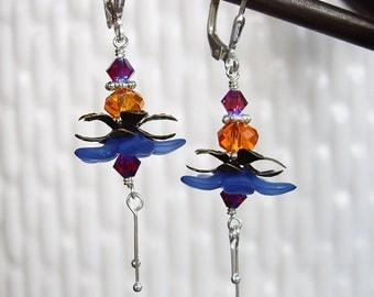 Tropical Beauty in Deep Blue - Earrings / Lucite Flower, Swarovski Crystal, Sterling Silver, Brass