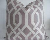 Both sides - Amethyst  Gatework -PKaufman - Decorative Designer  Pillow Cover- Basketweave---Mauve /Lilac Throw / Lumbar/ Toss Pillow