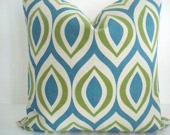 Arabesque - Geometric -Decorative Designer Pillow Cover-Teal  Throw/Lumbar Pillows-Teal , Citron , Ivory