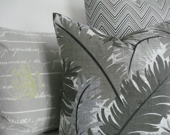 BOTH SIDES--Botanical - Decorative Pillow Cover--Designer Fabric--Leaves--Lumbar/Throw Pillow -Grey /Putty/Taupe/Ivory