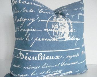 BOTH SIDES-French Script  Denim Blue and Ivory -Throws /Lumbars- -Decorative Designer Pillows, Medium Denim  Blue with Creamy Ivory script