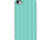 On Sale! Teal White Zig Zag Chevron Feather with White, Black or Clear Sides iPhone Case - IPhone 4, 4S, 5, 5S, 5C Hard Cover artstudio54