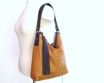 Tan slouchy leather shoulder purse without long tassel - messenger bag -  classic leather bag