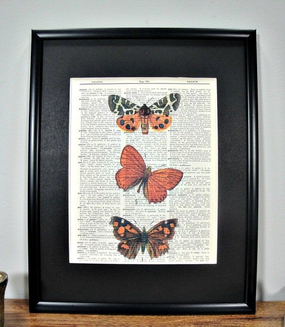 FRAMED 11x14 - Vintage Book Page Dictionary Print - Colorful Butterfly Trio