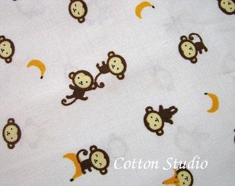 Kawaii Monkey Japanese Fabric Cream by the Half Yard