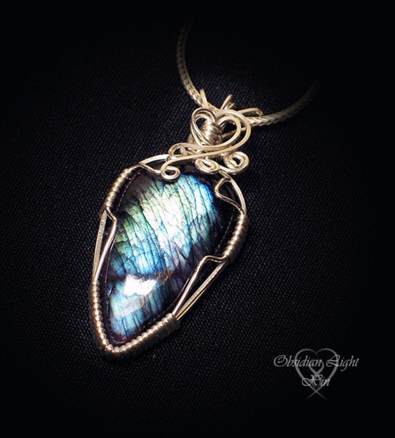 Blue Nova Labradorite in Purple stone and Silver