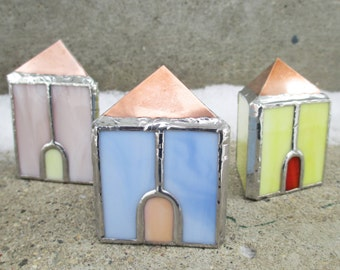 Set of Three Triangle Shaped Cottages Stained Glass and Copper 3D Home Decor