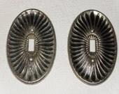 Vintage 60s Brass Light Switch Plates, Oval Starburst Pattern