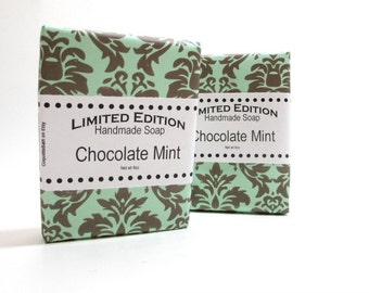 Chocolate Mint Soap, Shea butter, smells like candy, Handmade bath soap