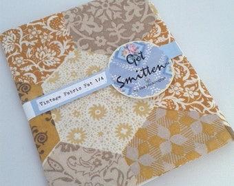 Mustard & Grey Hexi EPP English Paper Piecing Patchwork Print Vintage Fabric Fat Quarter
