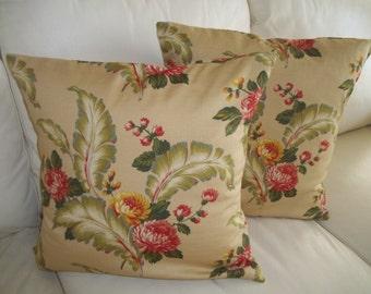 Retro Floral Barkcloth Pillow Covers Set of 2