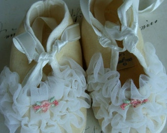 Antique Baby Sweet and Soft, highly detailed Baby Shoes