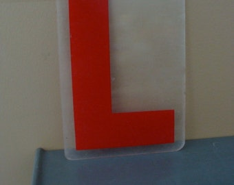 Vintage Industrial Salvaged Acrylic Letter L Tile Block