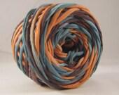 T Shirt Yarn Hand Dyed- Teal/Terra/Black 60 yards