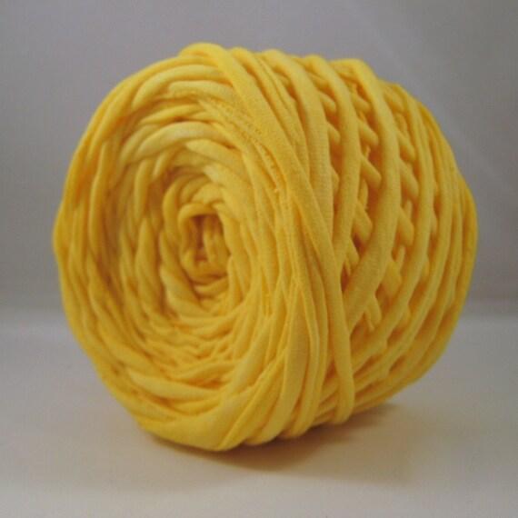 T Shirt Yarn Hand Dyed- Sunshine Yellow 60 Yards