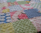 Vintage Chenille Patchwork Baby Quilt - Rainbow - Baby/Throw/Lap Quilt/Multi Use