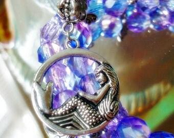 Mermaid Silver Dangle Charm Pendant,Beach Sea Charm