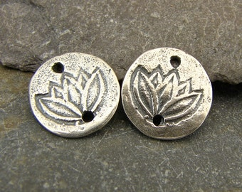 Lotus LInks - Rustic Artisan Sterling Silver Disk Links - One Pair - lhls
