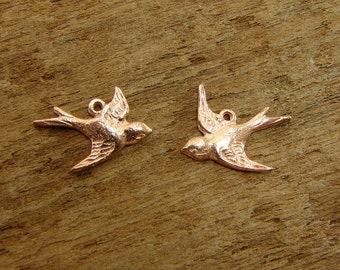 Rose Gold Vermeil Soaring Swallows - Vintage Style Swallow Charms - One Facing Pair - cfsrg
