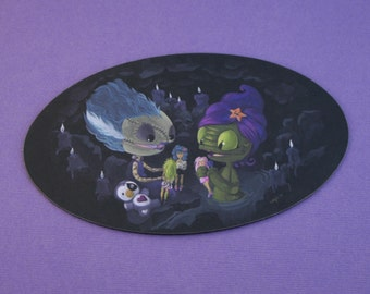 Truly Outrageous - 3 x 5.5 inch Lagoon Creature and Bride Playing with Dolls Oval Shaped Magnet