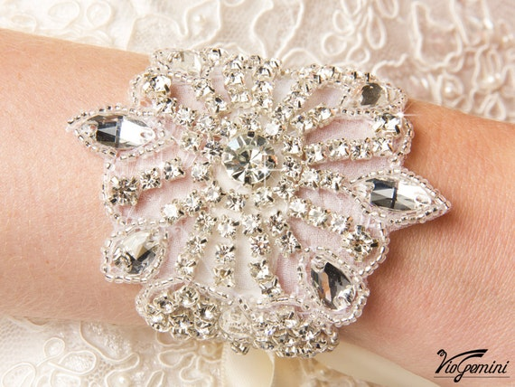 Bridal Bracelet, Bridal Jewelry, Rhinestone Bracelet, Wedding Bracelet, Beaded Crystal Bridal Bracelet, Rhinestone Bridal Accessories