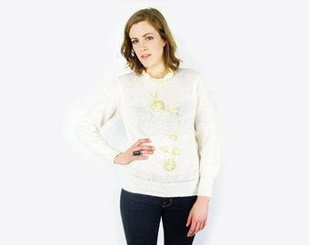 White & Gold Floral Embroider Sweater Jumper Crochet Sweater Open Knit Sweater Ruffle Collar 70s Sweater 70s Hippie Sweater S Small M Medium