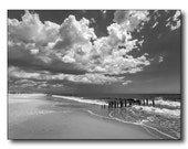 Ocean Beach Fine Art Photography, Surf Clouds Sand, Piling Remnants Of Old Piers, Super-Storm Sandy, Fort Tilden Rockaways NYC, Infrared