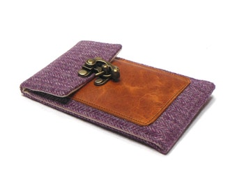 Smartphone wallet - plum vintage herringbone tweed