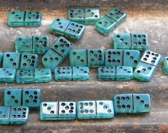 SALE  SALE  22 Mini Green Dominos Domino Beads with Holes, Games