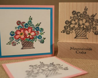 EMBROIDERED FLOWERS - wood mounted rubber stamp -(MCRS 22-21)