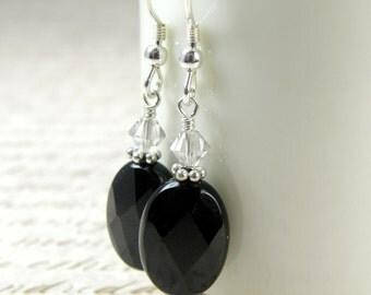 Black Onyx Earrings, Black Stone, Gemstone, Sterling Silver, Dangle, Oval, Faceted, Handmade Jewelry, Fall Winter Fashion